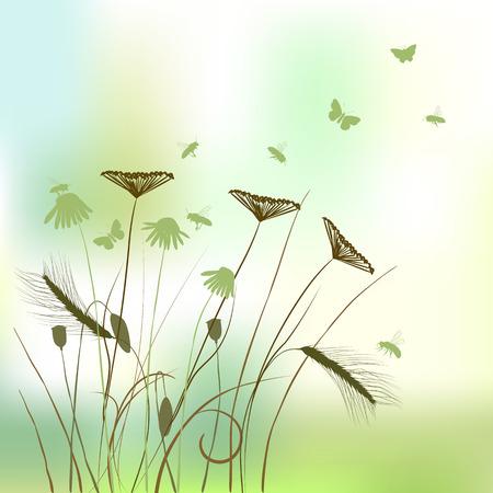 rietkraag: echte gras silhouet - zomer achtergrond Stock Illustratie