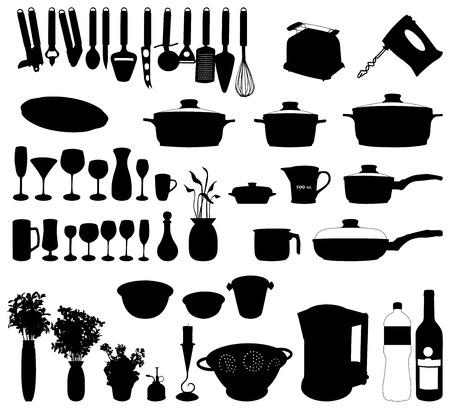cocina limpieza: platos, pan, batidora y otros objetos de cocina silueta del vector