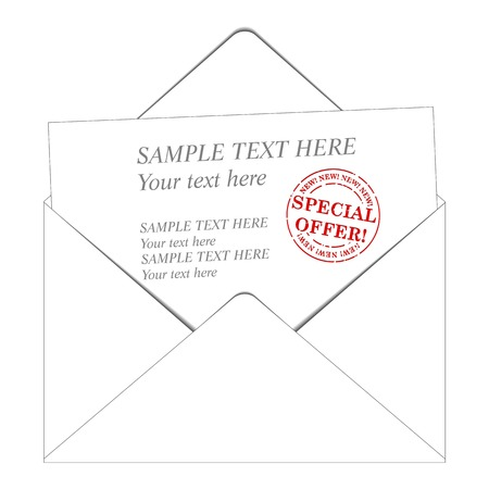 sent: envelop and paper with a space for your text