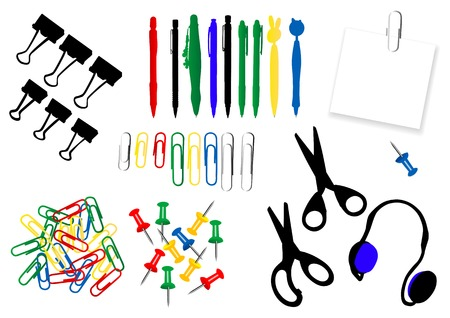 Office stationery set with stickers and pins, vector illustration Vector