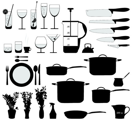 dishes, pan, mixer and other kitchen objects silhouette vector Vector