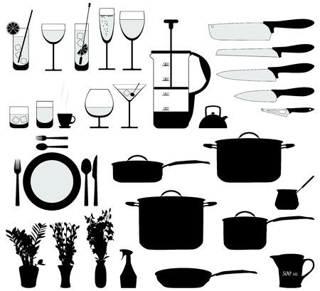 gerechten, pan, mixer en andere objecten keuken silhouet vector