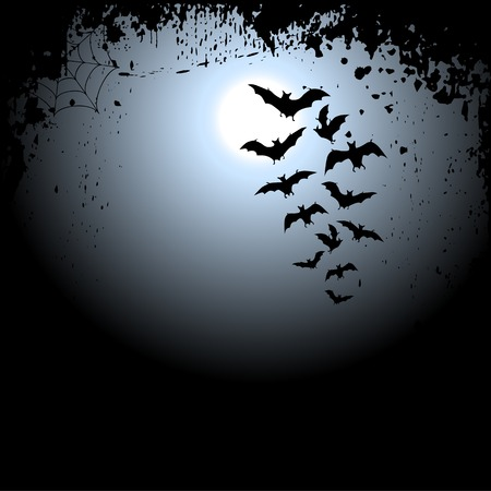 moonlight: Halloween background with moon and bats