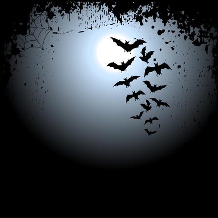 Halloween sfondo con la luna e pipistrelli