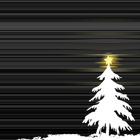 Winter background, christmas tree - vector illustration Stock Vector - 5657952