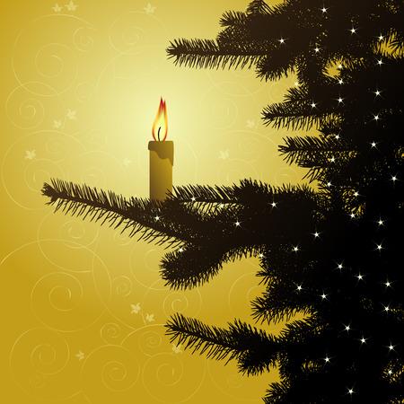 Winter background, christmas tree -illustration Stock Vector - 5753864