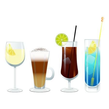 likeur: wijn- en cocktail glazen  Stock Illustratie
