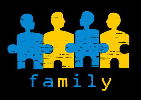 two piece: Illustration of family; concept of harmony, unity, family values, solutions