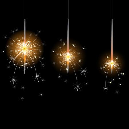 sparkler: flame, sparkler, illustration and painting