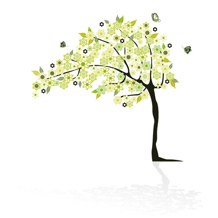 ornamente: abstract tree with flowers Illustration