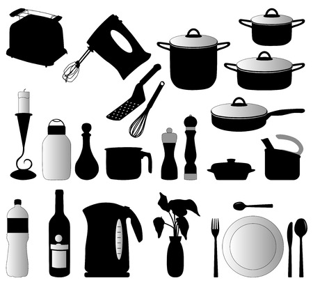 dishes, pan, mixer and other kitchen objects silhouette vector
