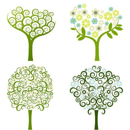 abstract tree with flowers, vector set Stock Vector - 6284880