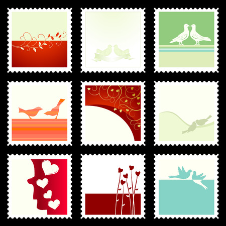 Festive The Valentines Stamps. To see similar, please VISIT MY GALLERY.  Vector