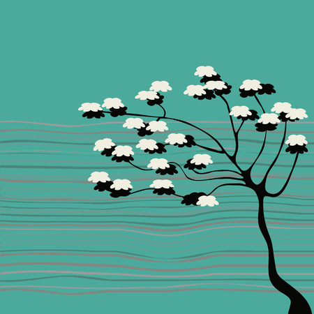 primavera: abstract tree with flowers Illustration