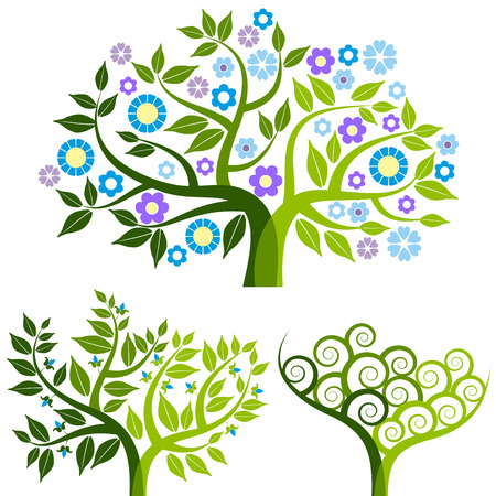 flor: abstract tree with flowers Illustration