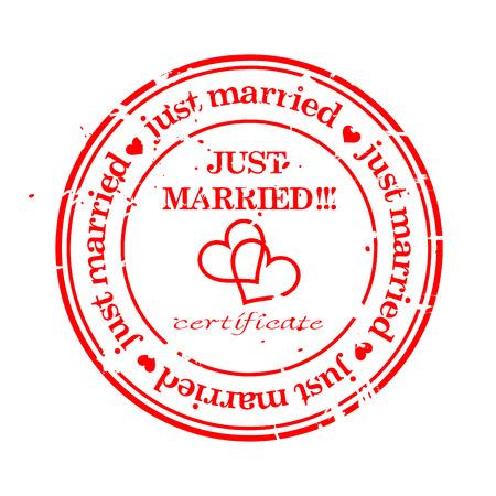 Se casó grungy de sello de boda sólo con aisladas sobre blanco  Foto de archivo - 6593775
