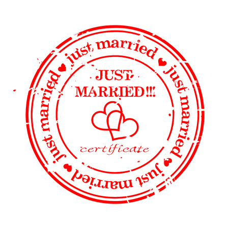 married: Wedding grungy stamp just married isolated over white