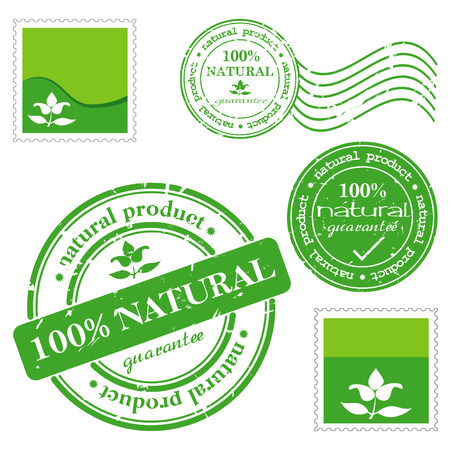 Green grunge rubber stamp with the text natural product written inside the stamp  Vector