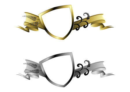 gold and silver shields  Vector