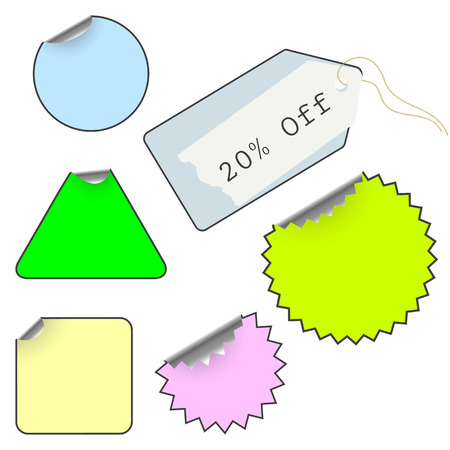 set of tags isolated over white Vector