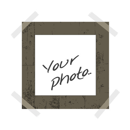 blank instant photo with room to add your own image and sticky tape Vector