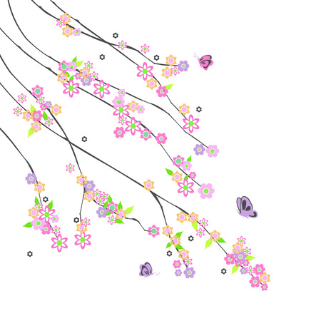 flor: abstract branches with flowers Illustration