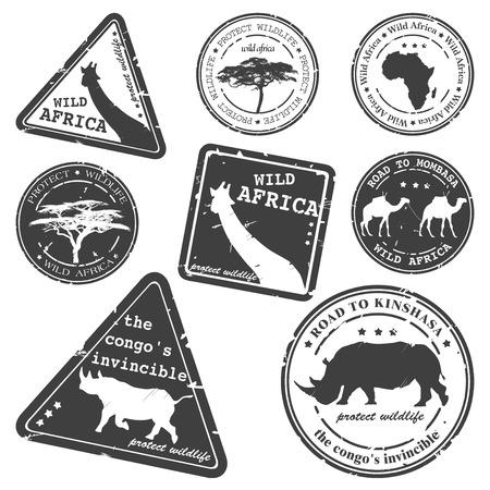 stamp, wild africa, vector set Stock Vector - 7159437