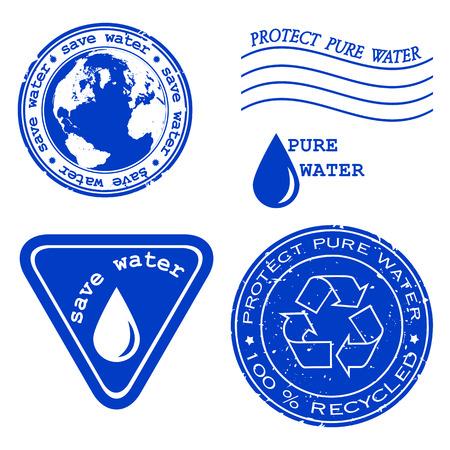 ahorrar agua: Ahorrar agua escrito dentro del sello. Sello de caucho de grunge verde con el texto