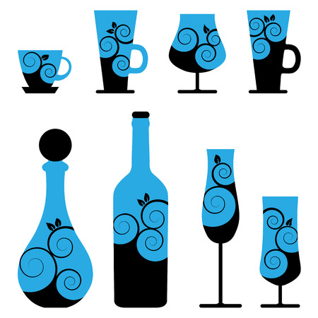 wine and cocktail glasses Vector