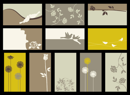 sparrows: card collection with roses