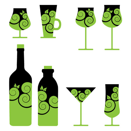 wine and cocktail glasses Stock Vector - 8142360