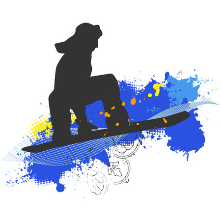 snowboarder jumping: collection of snowboard, skiers