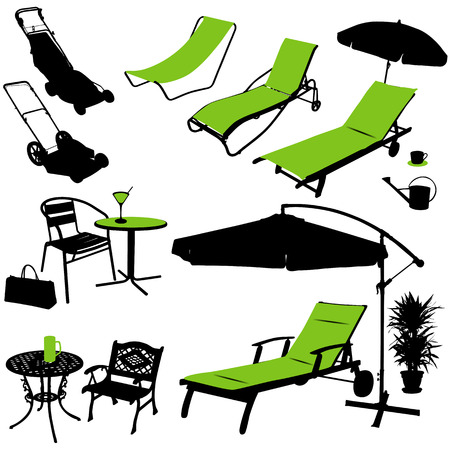 garden furniture: furniture vector silhouettes Illustration