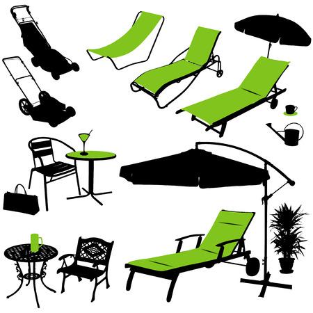 regando el jardin: siluetas de vector de muebles