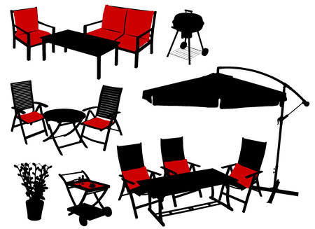 garden furniture: furniture silhouettes Illustration
