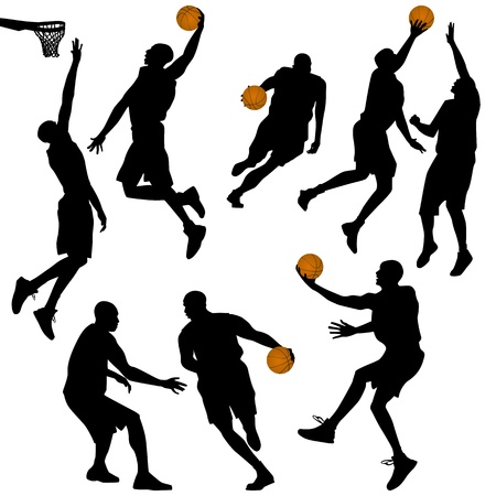 basketball, people silhouettes collection - vector Vector