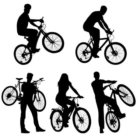 mountain bicycle: Imposta un sacco di gente, biciclette, Vettoriali