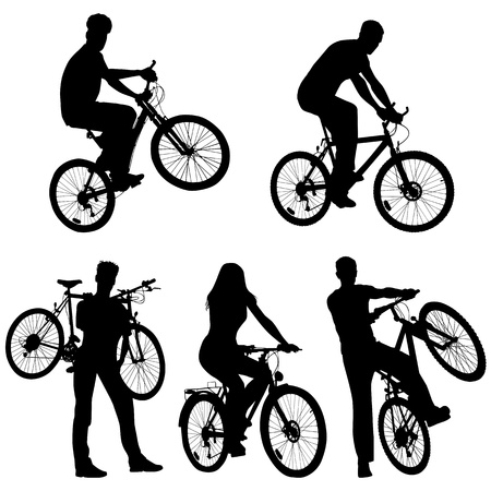 Lots of people, bicycles, set Vector