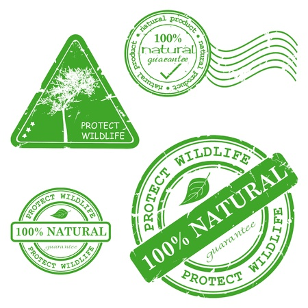 Natural product written inside the stamp. Green grunge rubber stamp with the text Vector