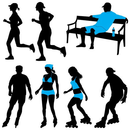 jogging park: several people in city park - vector silhouettes