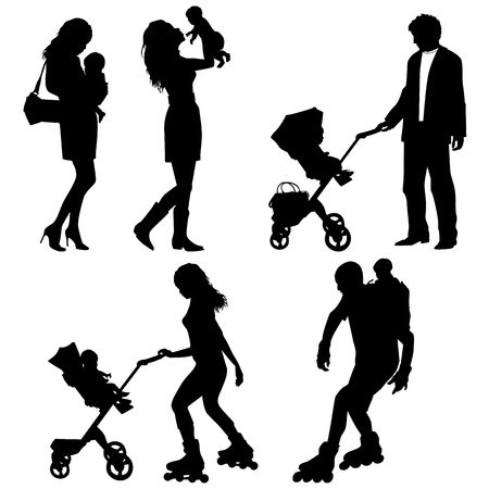 several people with children - vector silhouettes Vector