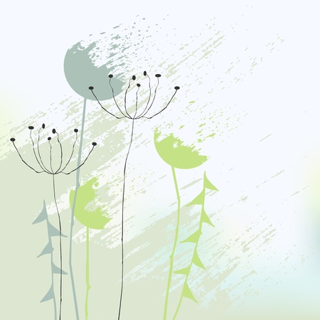 reeds: abstract background with dandelions