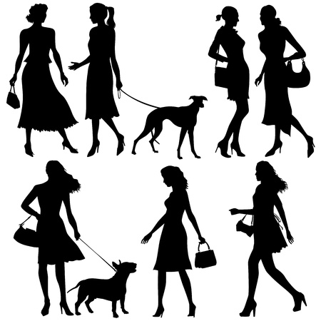 people silhouettes: Lots of people - vector set