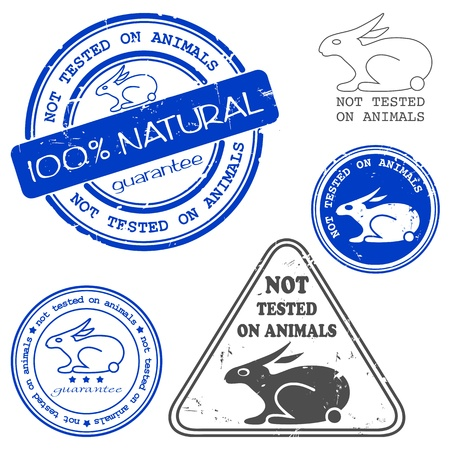 animals together: Not tested on animals written inside the stamp. Blue grunge rubber stamp with the text