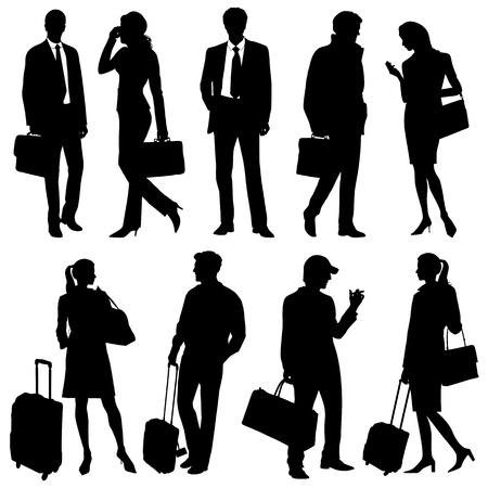 businesswoman suit: global team - vector silhouettes