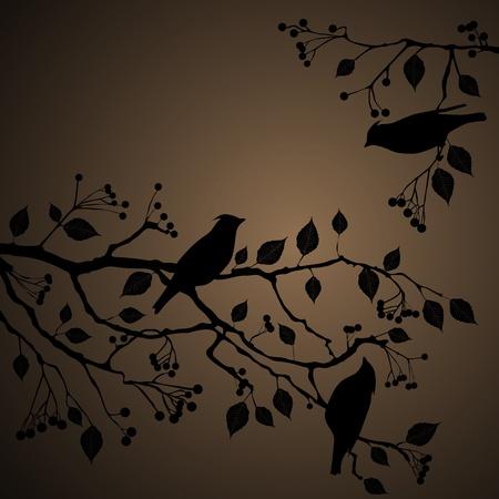 eberesche: Floral Background, V�gel auf dem Baum Illustration