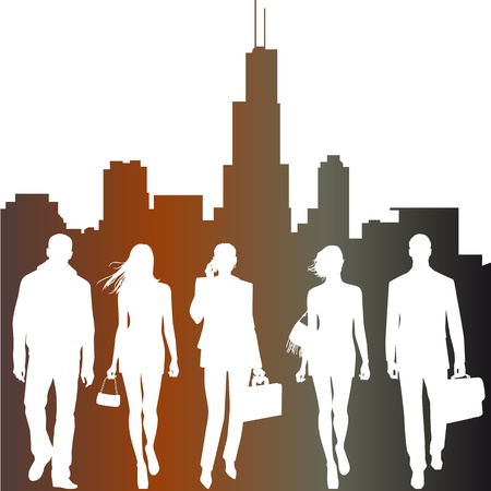 live work city: global team - vector silhouettes