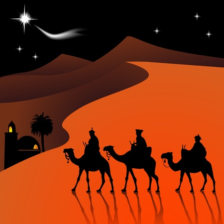 three wise kings: Classic three magic scene and shining star of Bethlehem.  Illustration