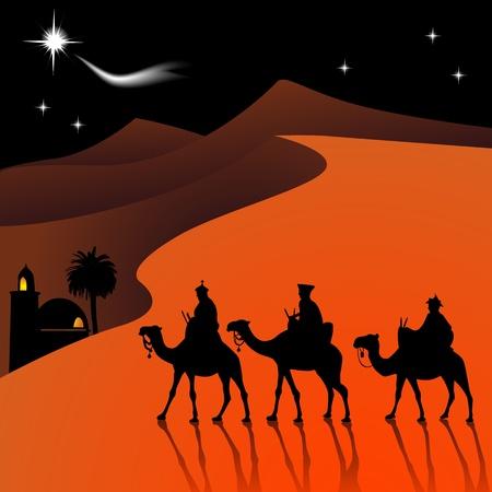 Classic three magic scene and shining star of Bethlehem.  Illustration