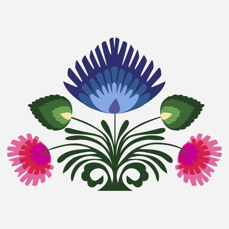 Floral achtergrond, ornament, bladeren en bloemen Stock Illustratie